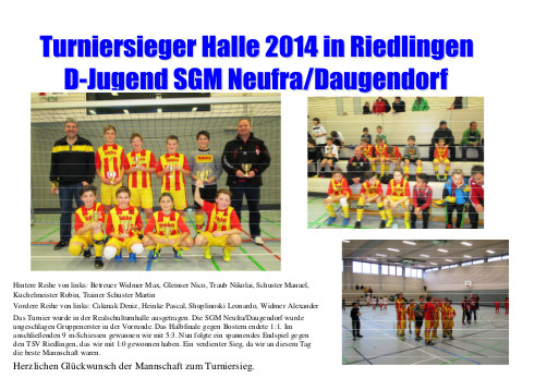 D-Junioren Turniersieger am 18.01.2014